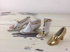 MINIATURE SHOES - Tiny Fancy Boots Heels, Collectibles, White & Gold, CUTE!