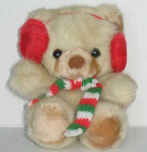 Russ Tuff Teddy Bear Vtg Scarf Earmuffs Plush Toy Beige Tag Korea Mini K-12 829