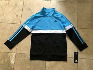 Adidas Boys Split Tricot Jacket Black/Blue , Size 7- NEW