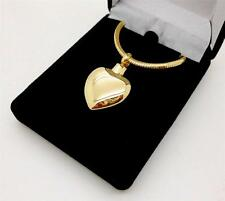 Stainless Steel Gold Heart Memorial Keepsake Cremation Urn Pendant Jewellery