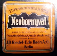 "ANTIQUE medical pharm.Riedel-E.de Haen Berlin""Neobornyval""-25perlen-unop.tin box"