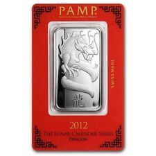 PAMP Suisse 2012 The Lunar Calendar Series Dragon 1 oz Silver Bar (in Assay)