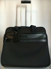 AUTH Montblanc Nightflight Office Case on wheels Carry on Leather Nylon 38034