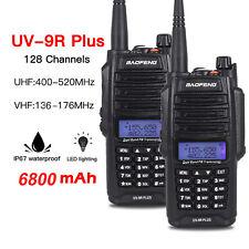 2pcs Baofeng UV-9R Plus CTCSS DCS Walkie Talkie Emisoras VHF UHF Radio Headset