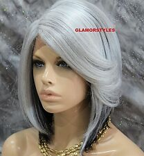 Bob With Bangs Off Black Gray Mix Full Lace Front Wig Heat Ok Hair Piece NWT
