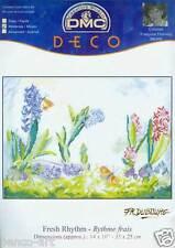 """DMC Deco cross stitch thread kit Fresh Rhythm Flowers 14 x 10"""" 35x25cm BK604"""