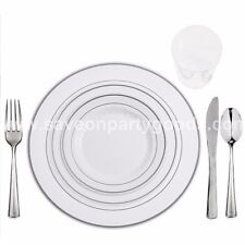 60 Full Table Setting Elegant Disposable White/Silver Rimmed Plates-Cups-Cutlery