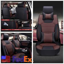 4-Season 1 Set 5-Seat Car Seat Covers Microfiber PU Leather Cushion With Pillows