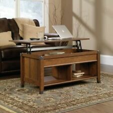 Modern Wood Lift-Top Storage Coffee Table Pop up Table Top Shelves Cherry Finish