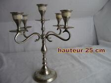 beau CHANDELIER  5 bougies en METAL incrustation de nacre hauteur 25 CM