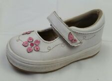 Keds White Pink Leather Mary Jane Shoes Baby Girls 5 Med Casual Floral Hook Loop