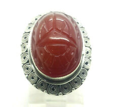 Egyptian Scarab Beetle Red Ornate Sterling Silver 925 Ring 9g Sz.7 Han317