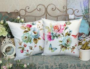 Elegant Decorative Velvet Fabric Floral Pillow Cover Double Sides Flower Printed