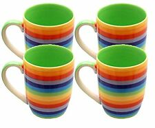 WINDHORSE Set of 4 Rainbow Striped Stoneware Ceramic Coffee / Tea Mugs - Hoops