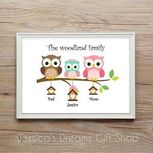 Personalised Owl Family  Family-Tree Print Gift Birthday Christmas Anniversary