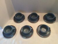 Dansk Mesa Blue Tea, Coffee, Etc. Cups And Saucers, Lot Of 6