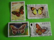 4 timbres thème papillons (C21)