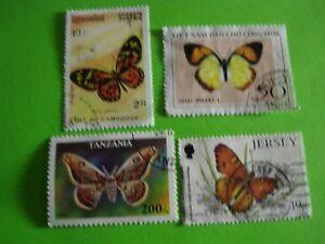 4 timbres thème papillons (C21) port gratuit