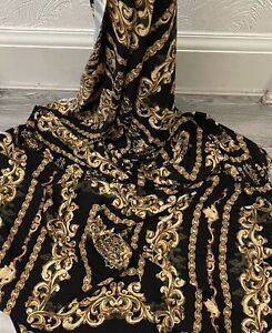 "1m VERSACE CHAIN DESIGEN black  GOLD crepe DRESS  FABRIC 58 """
