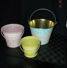 Lot/3 Round Metal Stackable Easter Pails/Buckets