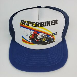 NOS 1980's SUPERBIKER Motorcycle trucker hat Street Bike Grand Pre Crotch Rocket