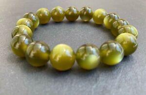 Pretty two-tone khaki/olive round bead stretch bracelet SCBR005