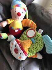 2 x Clown Comforter/ Activity / Soft Toys 30cm/20cm Circus Rainbow VGC g27