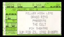 Original Vintage The Cult Fox Theatre Detroit Mi Feb 23 1992 Ticket Stub