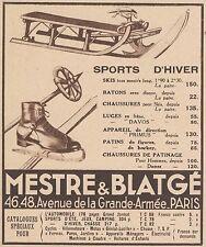 Z9676 MESTRE & BLATGE' - Sports d'Hiver -  Pubblicità d'epoca - 1934 Old advert