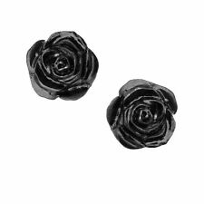 Alchemy Gothic Black Rose Flower Fine English Pewter Pair Earrings Studs
