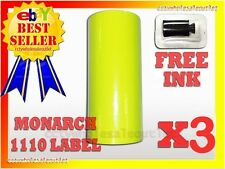 3 Sleeves Fluorescent Yellow Label For Monarch 1110 Pricing Gun 3Sleeves=48Rolls