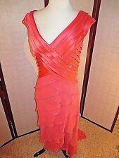 Tadashi Asymmetrical Neck Ruched Mesh Gown Dress ORANGE 10 *GREAT*