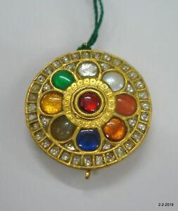20kt Vintage Antique Handmade Gold Jewelry Navratan Gemstone pendant necklace