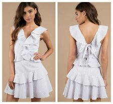 SAYLOR  SEXY * LUSY  * COTTON STRIPE  RUFFLE V-NECK MINI  DRESS  Sz S  NWT $ 220