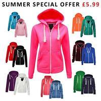 CLEARANCE Ladies Womens Plain Coloured Hoodie Zip Fleece Sweatshirt Jacket Tops