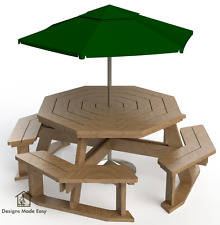 Easy DIY Octagon Picnic Table - Design Plans Instructions for Woodworking 03