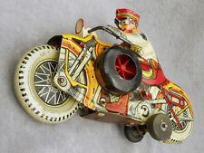 Vintage Police Motorcycle Wind-Up TIN TOY by MARX+ Original Key Nice Litho 8.5""