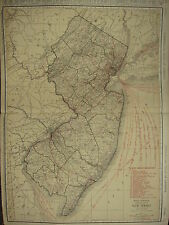 1922 grande carte ~ ~ new jersey railroads ~ Burlington Hamilton routes McNally