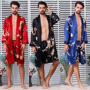 Men Silk Like Pyjama Set Outfit Dragon Print Pajamas Dressing Gown Robe Thin