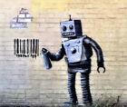 "Banksy graffiti art, Robot Tagging, Giclee Canvas Print, 12""x16"""