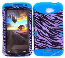 KoolKase Hybrid Silicone Cover Case for HTC One X S720e - Zebra Purple