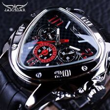Unique Design Jaragar Sport Racing Triangle Leather Strap Mens Automatic Watch