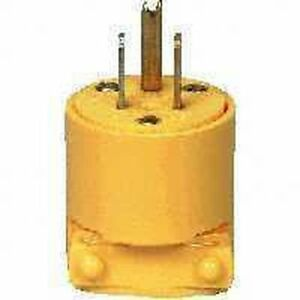 NEW CASE OF (10) COOPER BP4867 YELLOW 15 AMP 120 VOLT 3 WIRE CORD PLUG 4407748