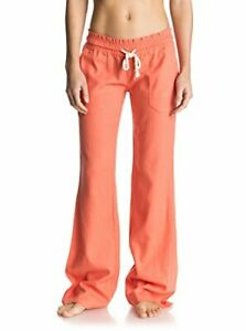 Roxy women's small Oceanside beach pants in living coral linen blend