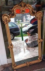 specchiera in legno dorato 105 x 58 cm