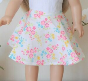 """18"""" Doll Clothes Fits American Girl Our Generation Floral Full Circle Skirt Only"""