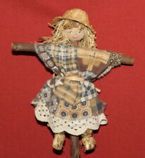 Antique Handcrafted Scarecrow Wood Straw Dressed Girl Doll