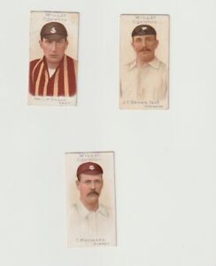 Wills 1901 Cricket Players 3 card lot Cigarette and trade Cards