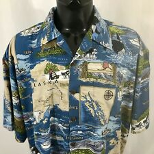 DEM CRAZY  Alaska Cruise Souvenir Mens 2XL Button FrontHawaiian S/S Shirt  EUC