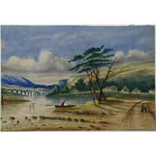 J Morgan Traditional Estuarine Landscape Bristol c1810 Watercolour Painting